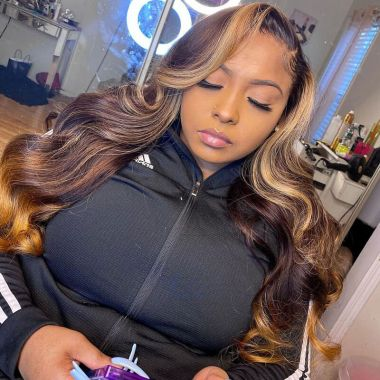 360 Lace Wig 150% Density Highlight Wavy Virgin Human Hair