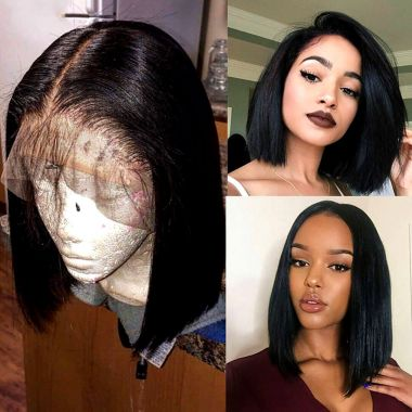 Affordable Bob Lace Wig T Part Swiss Lace Straight 180% Density