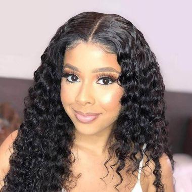 Brazilian Human Hair 180% Density Lace Front Wig 13X6 Deep Curly 100% Virgin Hair
