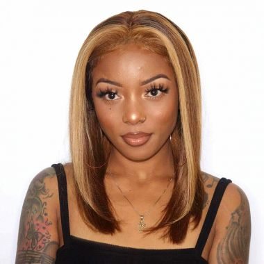 Highlight Blonde Pre-Plucked Virgin Human Hair Bob Wig 200% Density Silky Straight