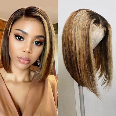 Glueless Highlight  Bob Wig 180% Density Silky Straight 100% virgin Human Hair