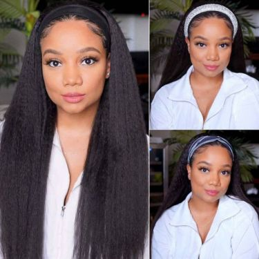 Easy Install Put On & Go Headband Wig 150% Density Human Hair Kinky Straight
