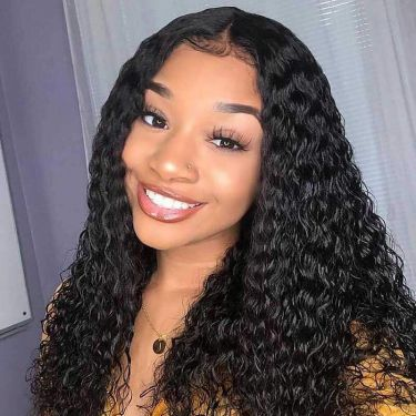 Natural Color Deep Curly Best Virgin Hair 200% Density 13*4 Lace Front Wigs