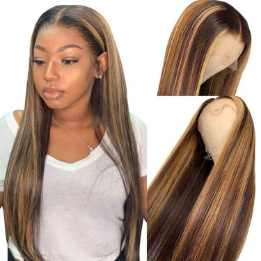 Highlight Wig Ombre Human Hair Wig Straight 360 Lace Front Wig 150% Density