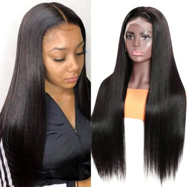 Glueless Silky Straight 13x6 Swiss Lace Front Wig Pre Bleached 180% Density