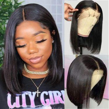 13x5.5 Swiss Lace T Part Bob Wig Middle Part 100% Virgin Hair