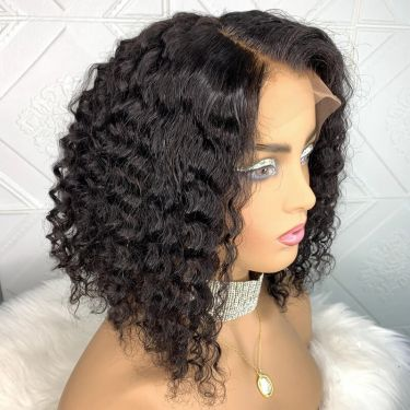 Premade Bob Princess Curly Glueless 150% Density 360 Lace Frontal Bob Wig