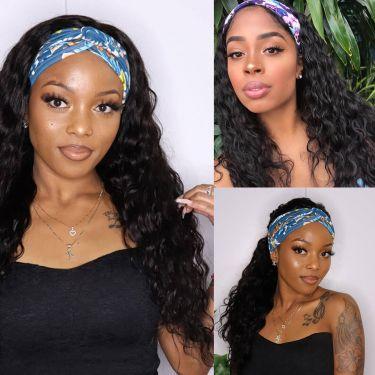 Easy Install Put On & Go Headband Wig 150% Density Human Hair Loose Curly