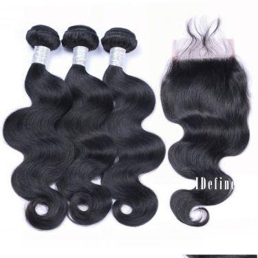 3 Bundles With Closurel Body Wave Human Virgin Hair
