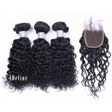 3 Bundles With Closure Italy Curly Wave Human Virgin Hair