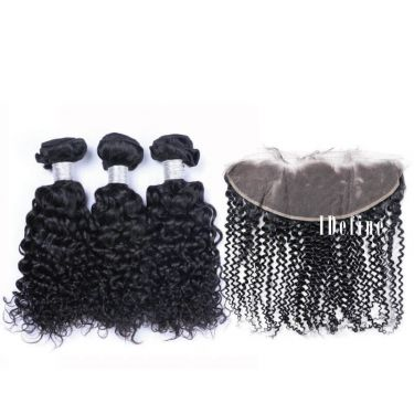 3 Bundles With Frontal Italy Curly Wave Human Virgin Hair