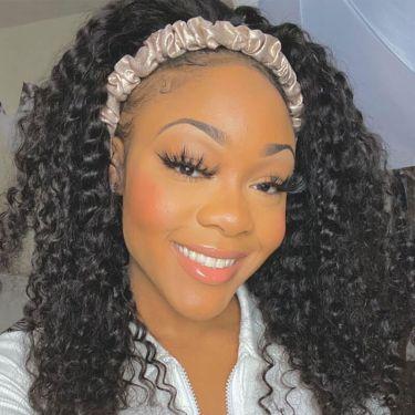Headband Scarf Wig Brazilian Curl 180% Density 100% Human Hair