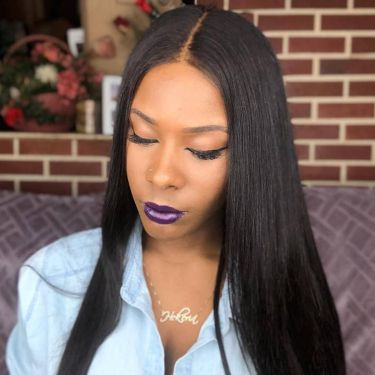 Natural Color Silky Straight 180% Density 13X6 Lace Front Wig Invisible Lace
