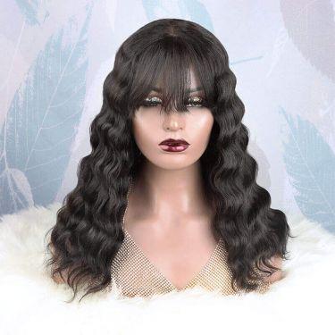 Natural Wave Bangs Glueless Lace  250% Density Closure Wig