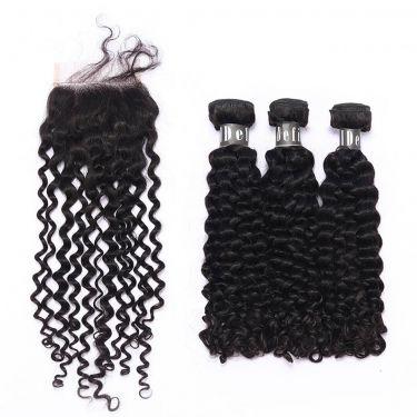 3 Bundles With Closurel Deep Curly Human Virgin Hair
