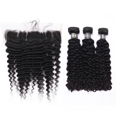 3 Bundles With Frontal Deep Curly Human Virgin Hair