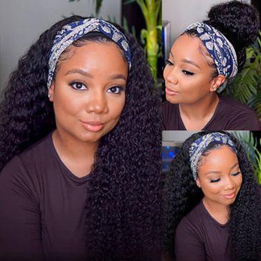 Easy Install Put On & Go Headband Wig 150% Density Human Hair Deep Curl