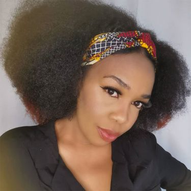 African American Kinky Curly Hair Headband Half Wigs Natural Color