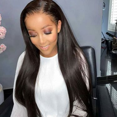 Hd Film Lace T Part Wig Lace Wig 180% Density Straight Pre-bleached Knots