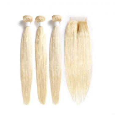 3 Bundles With Closurel 613 Blonde Human Virgin Hair