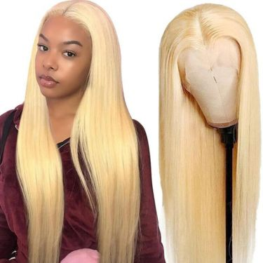 13x4 Lace Frontal Wig 613 Blonde Straight 180% Density  Pre-plucked 100% Virgin Hair