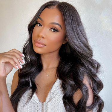 13x6 Swiss Lace Front Wig Pre Bleached Wavy 100% Virgin Hair