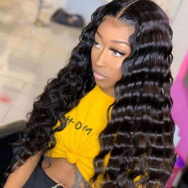 13x6 Swiss Lace Front Wigtropical Deep Wave Pre Plucked
