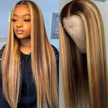 Glueless Highlight Color Swiss Lace Front Wig 180% Human Hair