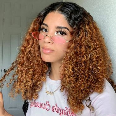 Hot Selling Highlight Curly Bob Style Swiss Lace Front Wig 100% Virgin Hair