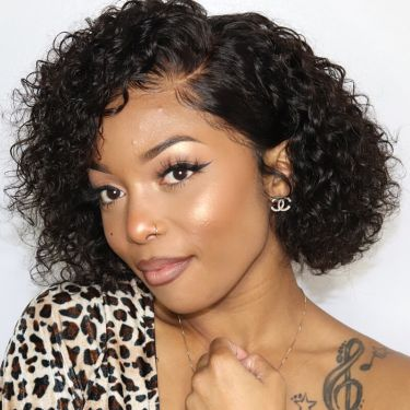 13x4 Lace Front Wig 150% Density Short Pixie Cut Curly Indian Human Hair