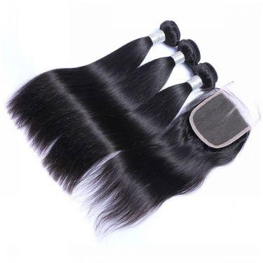 3 Bundles With Closurel Straight Human Virgin Hair