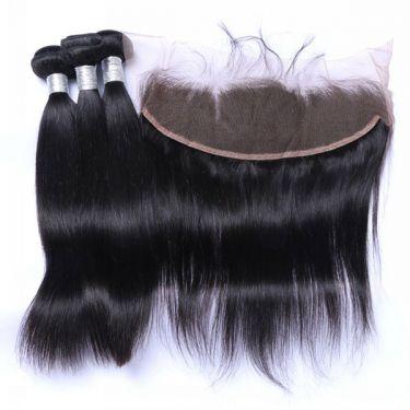 3 Bundles With Frontal Straight Human Virgin Hair
