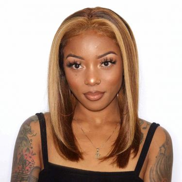 Highlight Blonde Pre-plucked Virgin Human Hair Bob Wig 180% Density Silky Straight