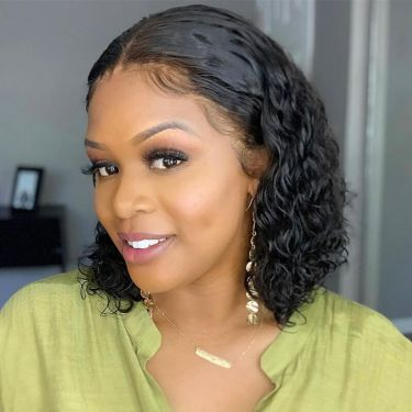 Glueless Curly 13x4 Swiss Lace Front Bob Wig 100% Virgin Hair