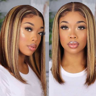 Highlight Bob Wig Straight 13x4 Lace Front  Wig 100% Virgin Hair