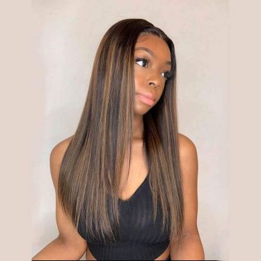 Glueless Highlight 13x4 Siwss Lace Frontal Wig 180% Density