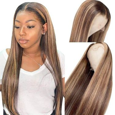 Highlight Color 13x5.5 Swiss Lace T Part Wig 100% Human Hair