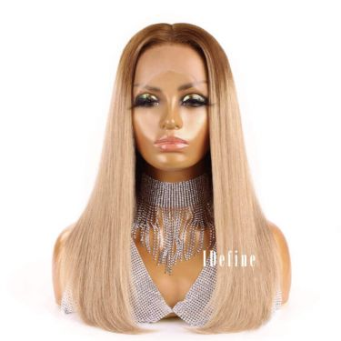 Ombre Color 13x5.5 Swiss Lace T Part Bob Wig 100% Human Hair