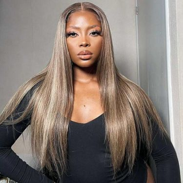 T Part Swiss Lace Silky Straight Wig Highlight T418p4 Precolored 180% Density Human Hair