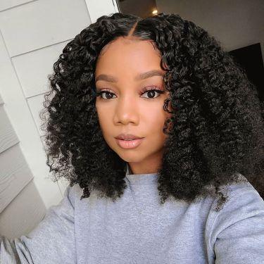 Short Curly U Part Wig 180 Density Human Hair Wig