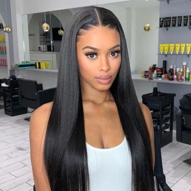 Undetectable HD Lace T Part Wig Lace 180% Density Human Hair Straight Pre-bleached Knots