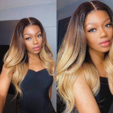 Ombre Color Lace 180% Density Colsure Wig T1b/4/27# Color Human Hair