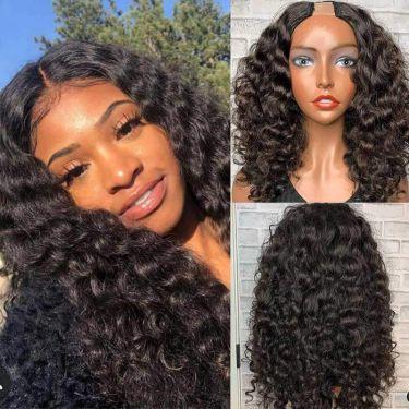 Glueless U-Part Wig Deep Wave 150% Density Human Hair