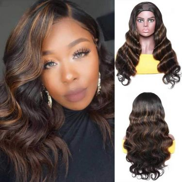Wavy U-Part Wig 150% Density 1B/4# Color Human Hair Wig