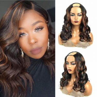 Wavy U-Part Wig 150% Density 1B/4# Color Human Hair Wig