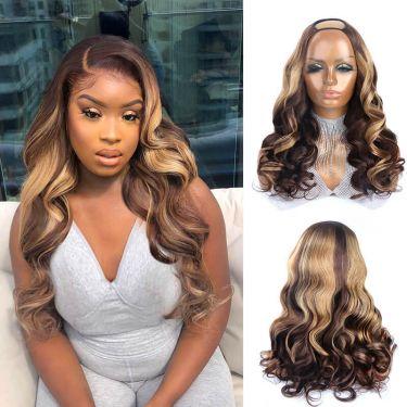 Wavy U-Part Wig 150% Density P4/27# Color Human Hair Wig