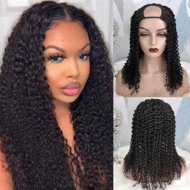 Kinky Curly 150% Density U-part Wig Super Easy Human Hair Wig