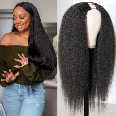 Kinky Straight U-Part Wig Undetectable Human Brazilian Hair Wig