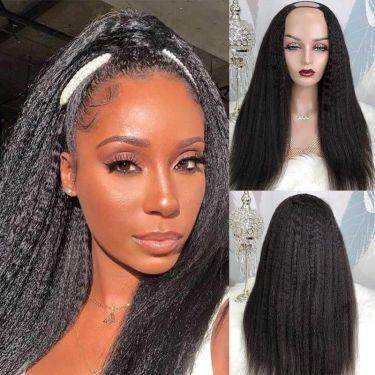 Kinky Straight Affordable U Part Wig 100% Virgin Hair