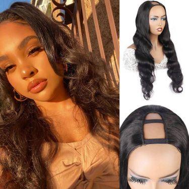 Long Wave U-Part 150 Density Human Hair Wig